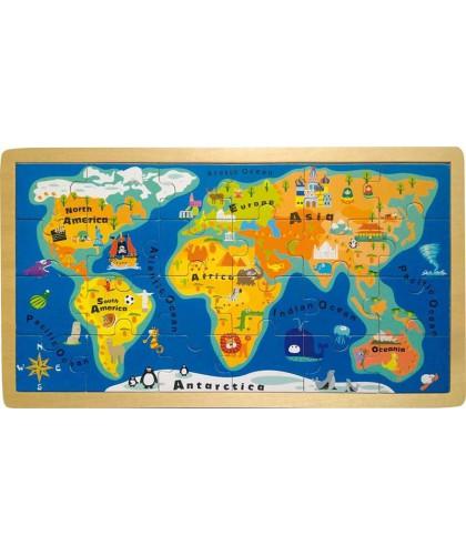 Puzzle Harta Lumii din lemn
